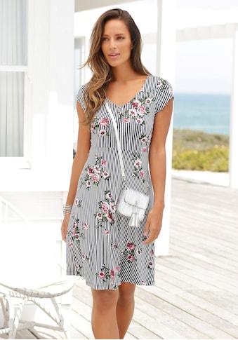 Beachtime Jerseykleid, mit Streifenprint und Blumen kaufen