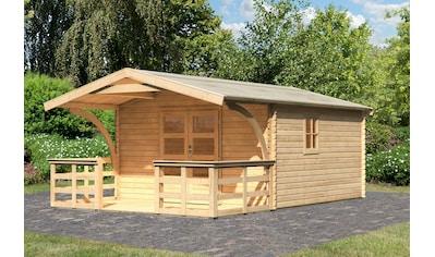 Karibu Gartenhaus, mit Vordach und Terrasse kaufen