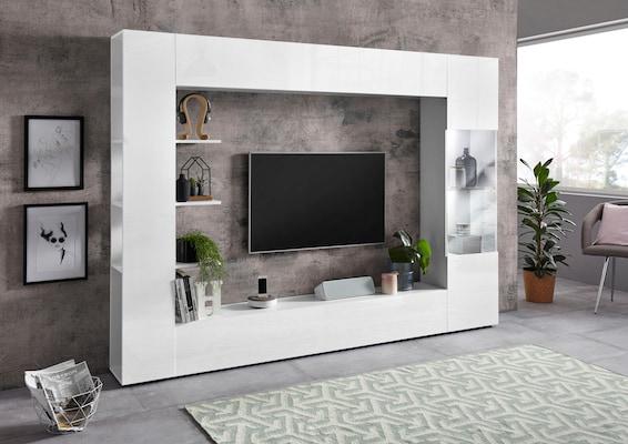 weiße TV-Wand in Hochglanz