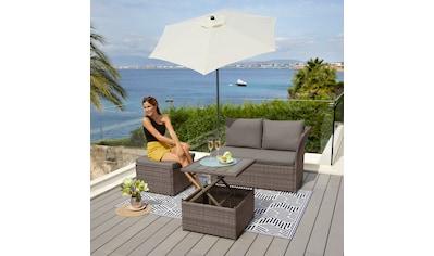 KONIFERA Loungeset »Marseille Premium«, 7 - tlg., 2er Sofa, 1 Hocker, Tisch 57x57x36 - 63 cm, Polyrattan kaufen
