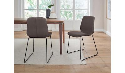 PBJ Stuhl »Sledge Cut«, (2er-Set) mit Kufengestell aus schwarzem Metall, mit Lederbezug kaufen