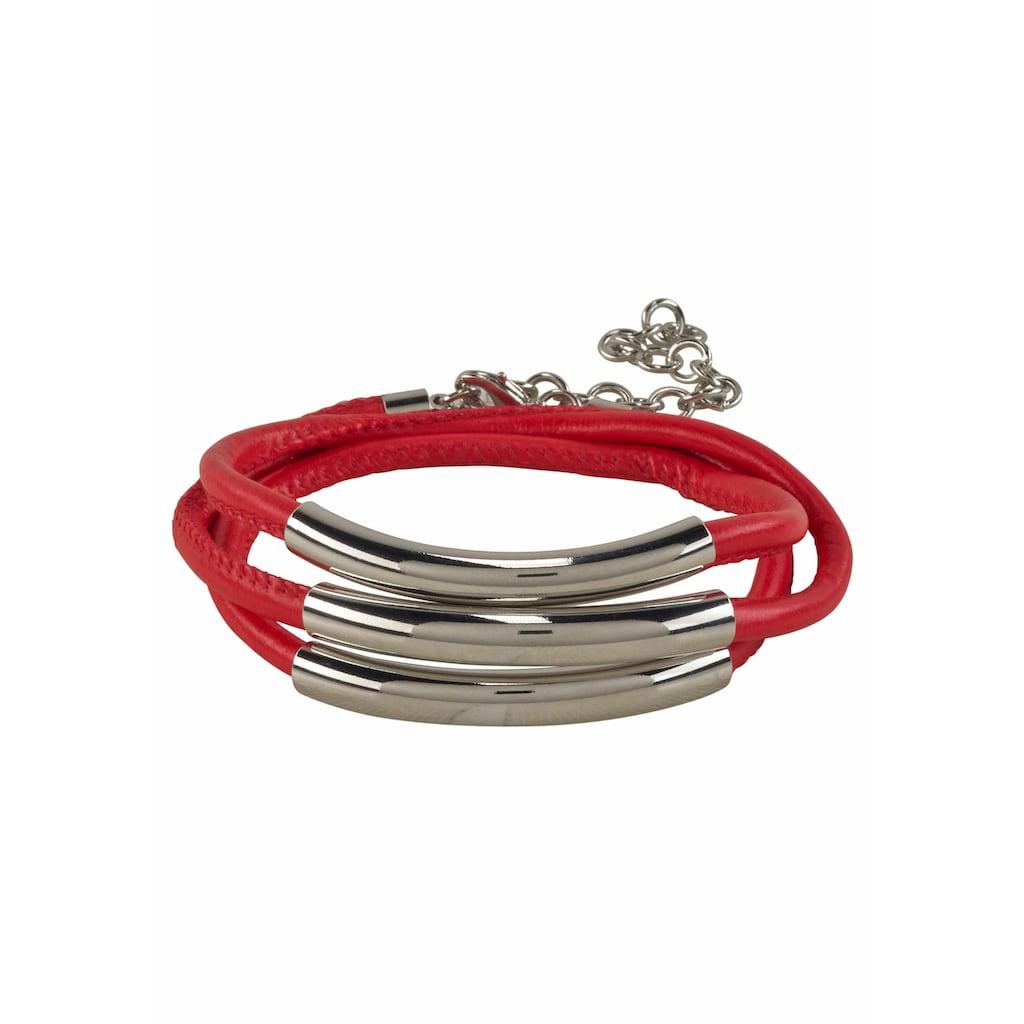 J.Jayz Wickelarmband »rot, mit Naht und 3 Metallelementen«, (1 tlg.)