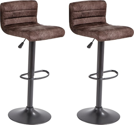 Drehhocker mit braunen Sitzen