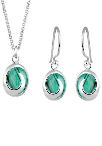 Elli Schmuckset »Oval mit Malachit Edelstein in Grün 925 Silber« kaufen