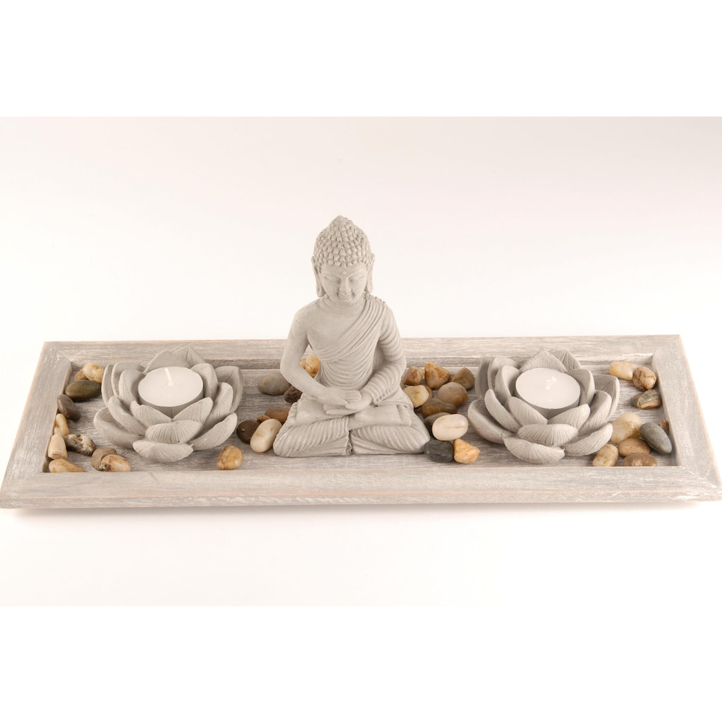 Home affaire Buddhafigur, Buddha auf Tablett (5-tlg.)