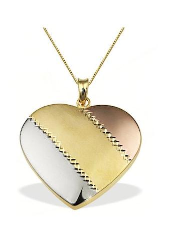 goldmaid Collier Herz gestreift 375/- Gold Tricolor kaufen
