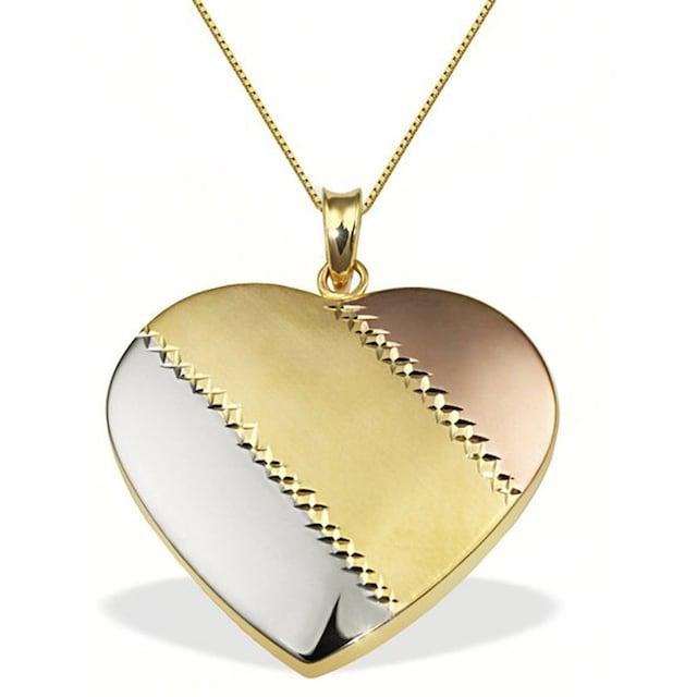 goldmaid Collier Herz gestreift 375/- Gold Tricolor