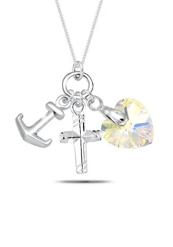 Elli Collierkettchen »Herz Kreuz Anker Kristalle Silber« kaufen