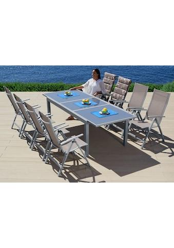MERXX Gartenmöbelset »Amalfi«, 9 - tlg., 8 Hochlehner, Tisch 100x180 - 240 cm, Alu/Textil kaufen