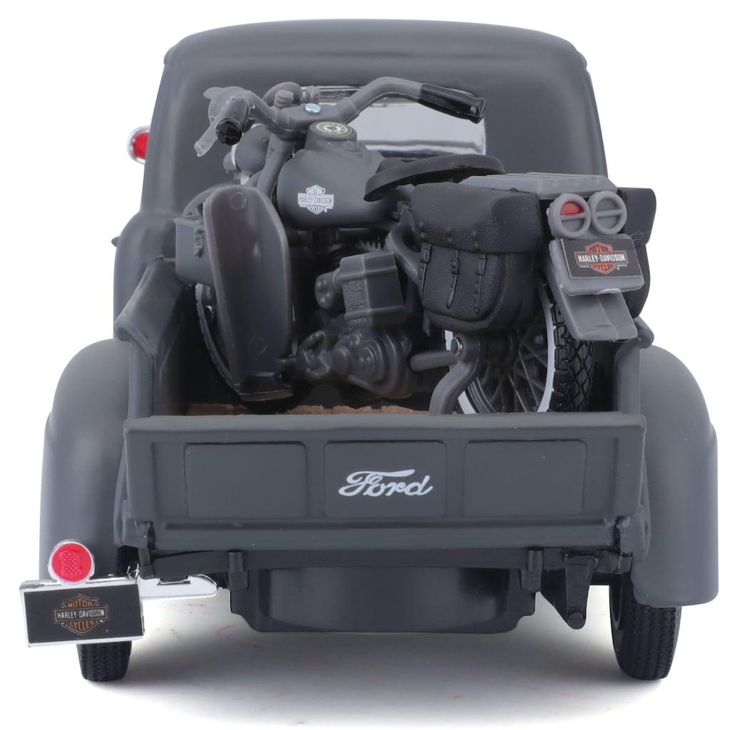 Maisto® Sammlerauto »Ford F1 ´48«, 1:24, inklusive Harley-Davidson WLA Flathead