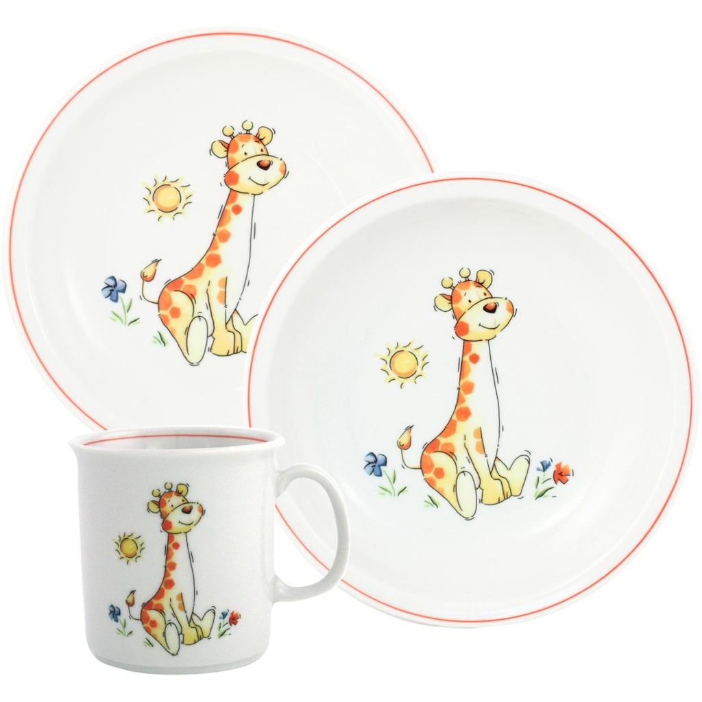 TRIPTIS® Thüringer Meisterporzellan Kindergeschirr-Set »Giraffe«, (Set, 3 tlg.), mit niedlichem Giraffen-Motiv, spülmaschinenfest