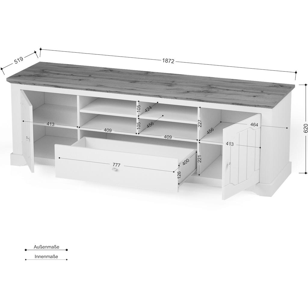 "Home affaire Lowboard »Teverton«, Lowboard ""Teverton"" 2 Türen, 1 Schublade, Breite 187 cm"