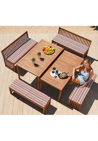 MERXX Gartenmöbelset »Hawaii«, 10 - tlg., 4 Bänke, 2 Tische, Akazienholz, braun kaufen