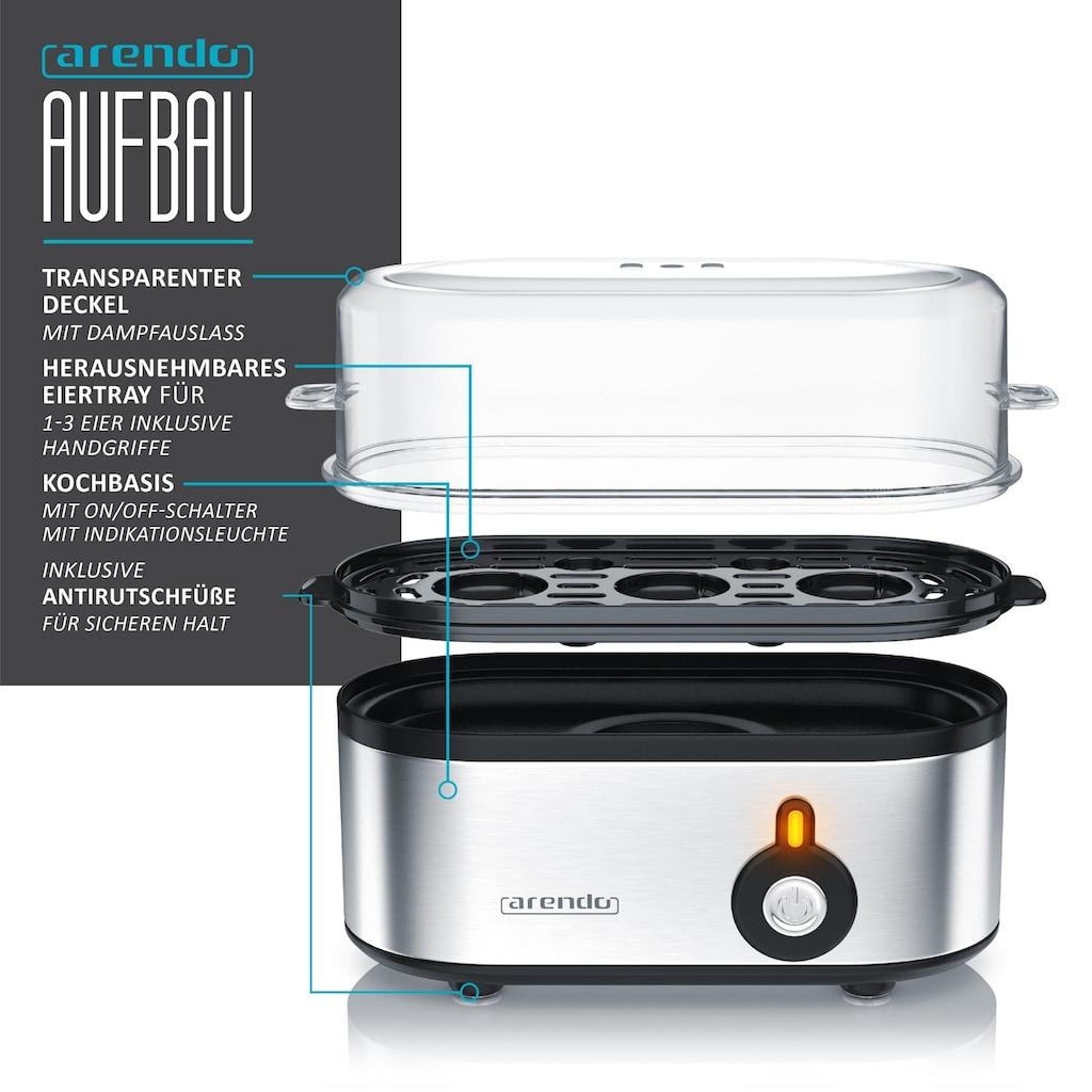 Arendo Frühstücks-Set 3-teilig in Edelstahl Optik »Wasserkocher, Toaster und Eierkocher«