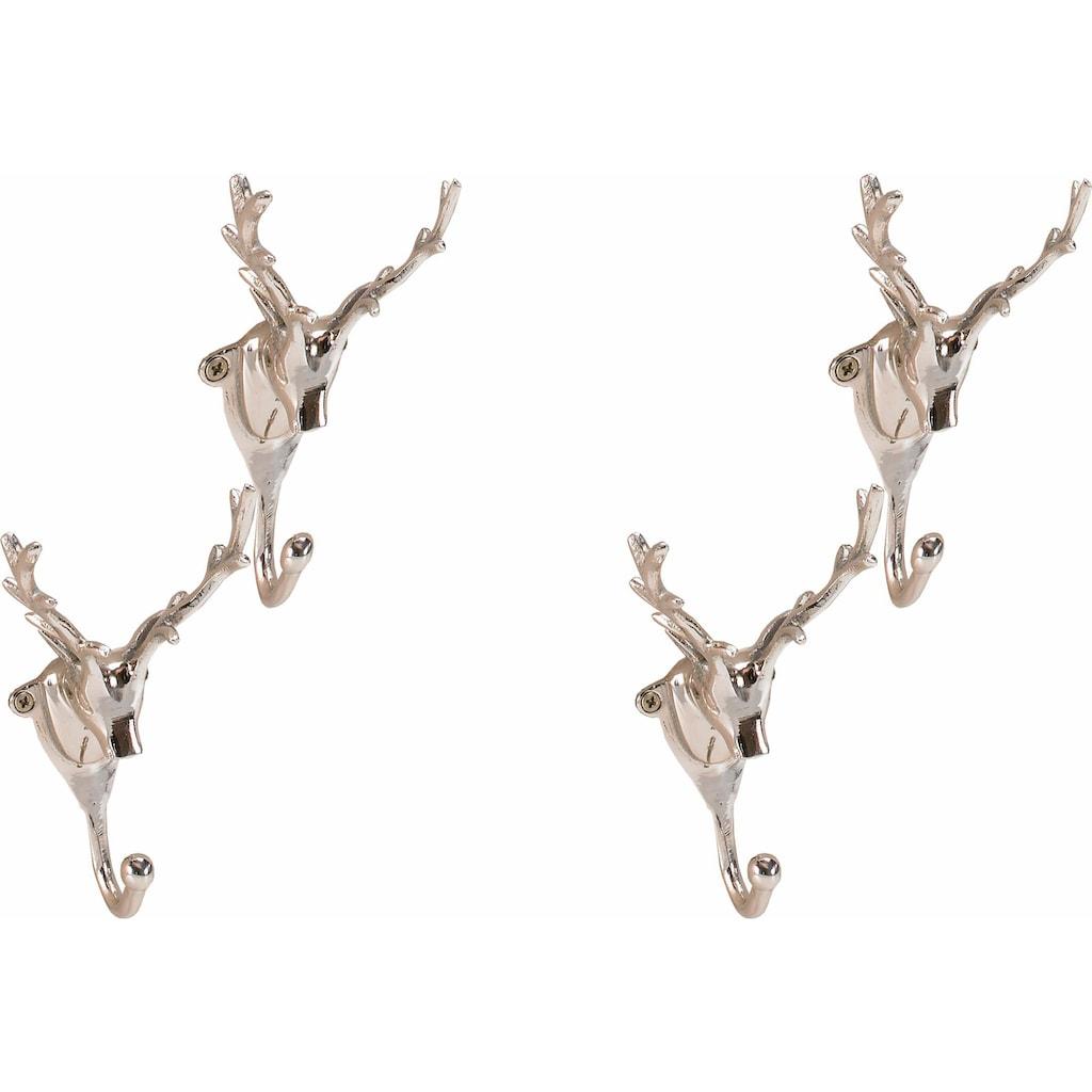 ARTRA Kleiderhaken »Wandgarderobe Kleiderhaken 4er SET Geweih in Kupfer Hirschgeweih«, aus Aluminium