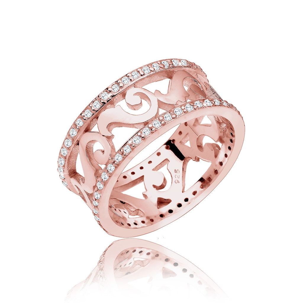 Elli Fingerring »Ornament Zirkonia 925er Sterling Silber«