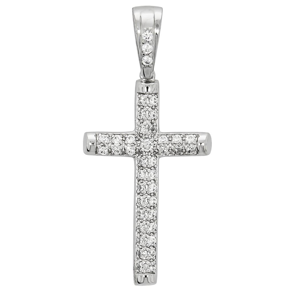 Firetti Kettenanhänger »glänzendes Kreuz, massiv und rhodiniert«, mit Zirkonia