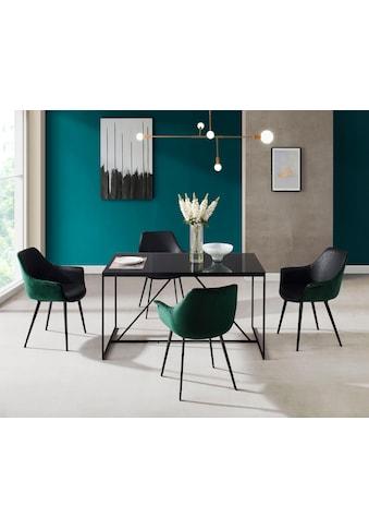 INOSIGN Esstisch »Esra«, Gestell aus Metall, Tischplatte aus Glas kaufen