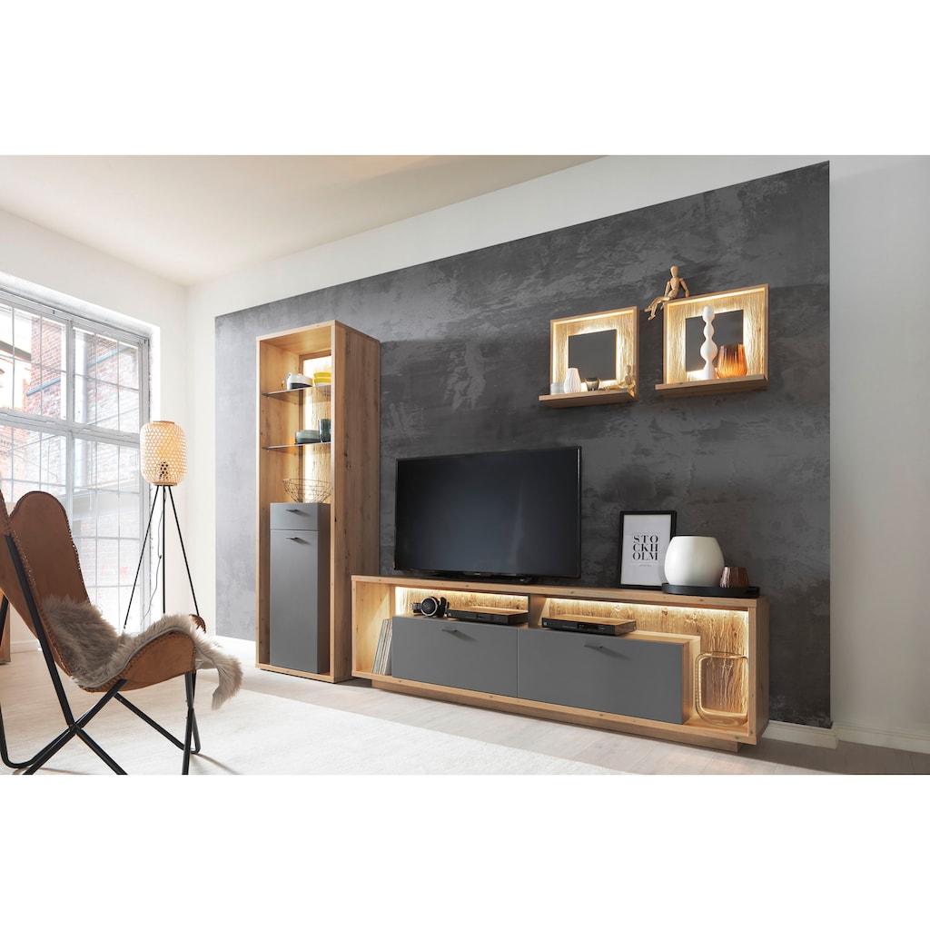 MCA furniture Wandboard »Lizzano«, (2 St.), in Balkeneiche Nachbildung, 3-D Rückwand mit Struktur