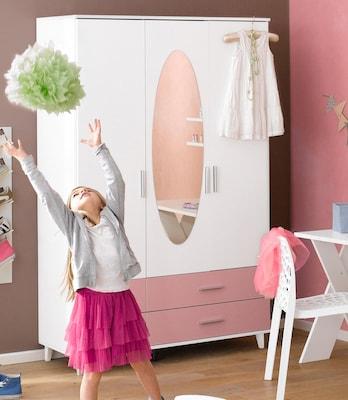 Kinderkleiderschrank in Weiß und Rosa mit Spiegel