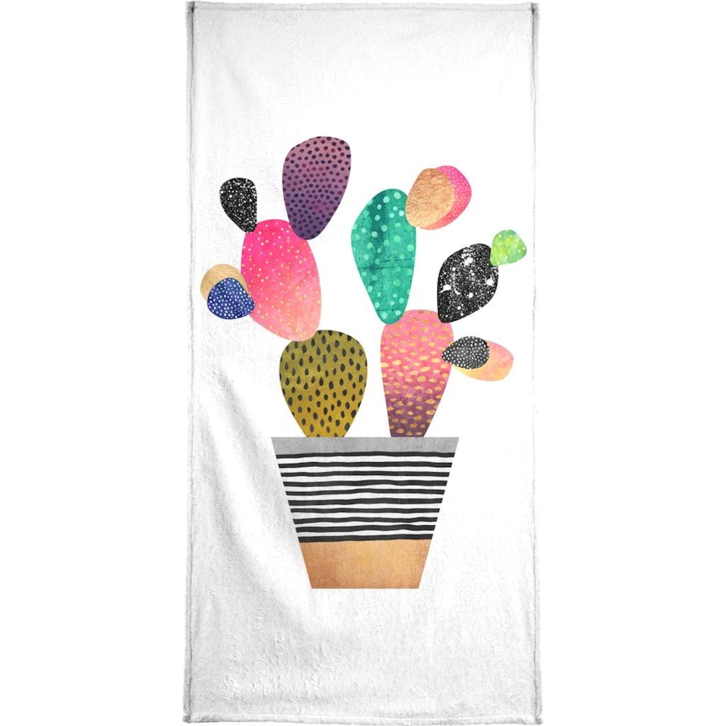 Juniqe Handtuch »Happy Cactus«, (1 St.), Weiche Frottee-Veloursqualität