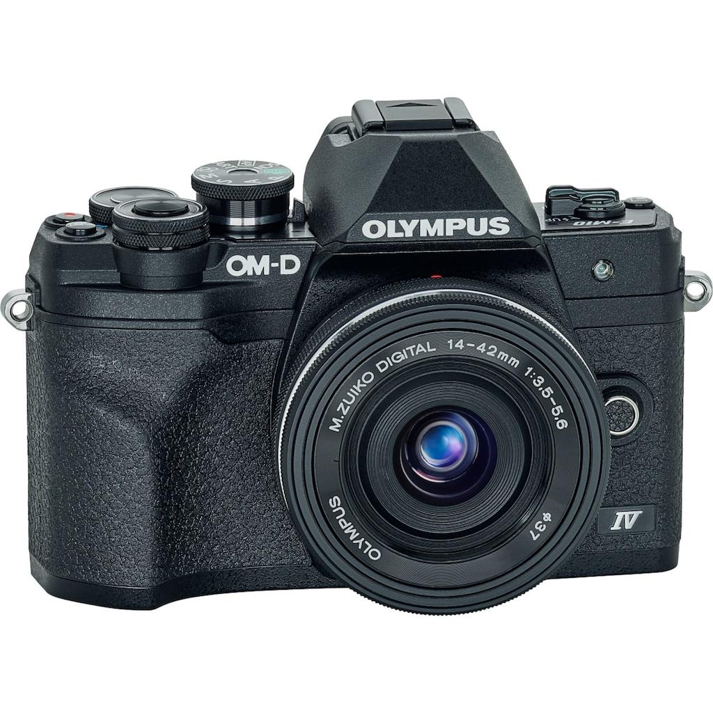 Olympus Systemkamera »E-M10 Mark IV«, M.Zuiko Digital ED 14‑42mm F3,5-5,6 EZ Pancake, 20,3 MP, Bluetooth-WLAN (WiFi), +BLS-50, F-5AC USB-AC Adapter, USB cable, Shoulder Strap