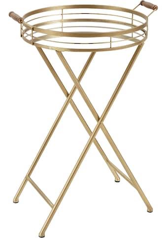 Leonique Beistelltisch »Marième«, mit Ablagefläche aus Spiegelglas, goldfarbenes Gestell kaufen