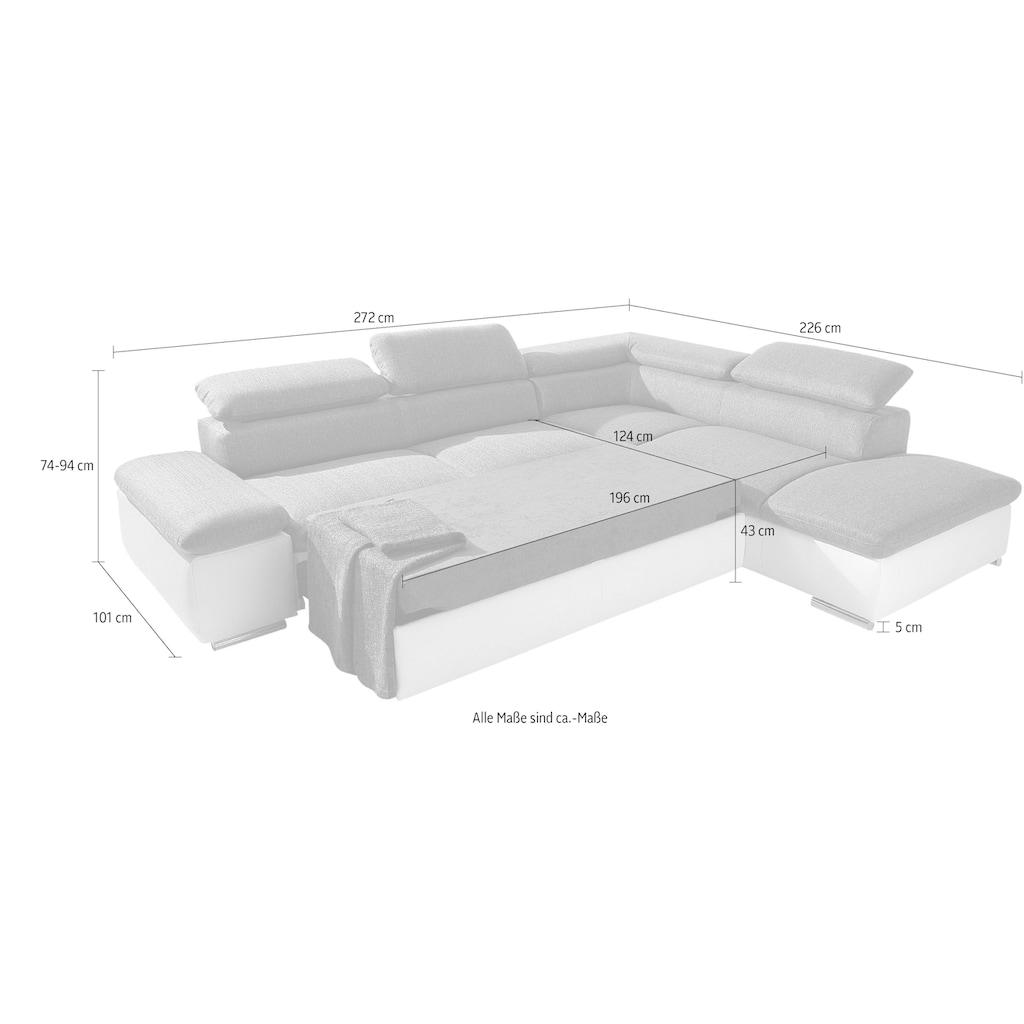 sit&more Ecksofa, wahlweise mit Bettfunktion, frei im Raum stellbar, Ottomane links oder rechts bestellbar, inklusive Arm- und Rückenverstellung
