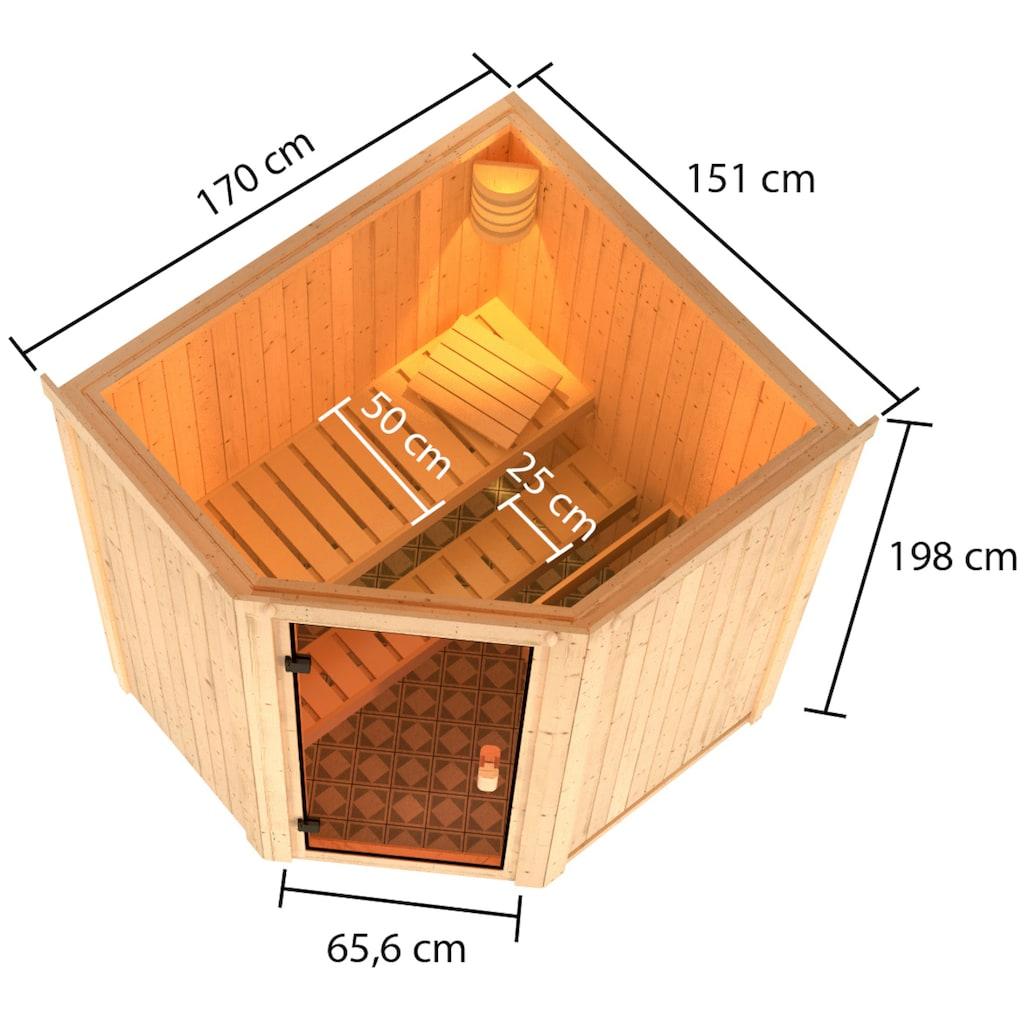 Karibu Sauna »Fedder«, 4,5 kW Ofen mit int. Strg.