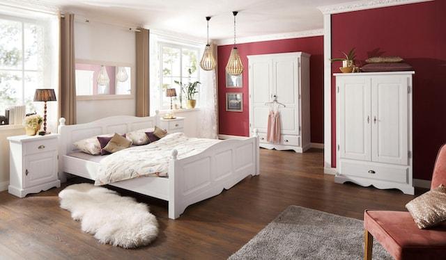 Schlafzimmer Set in Weiß mit Bauernschrank