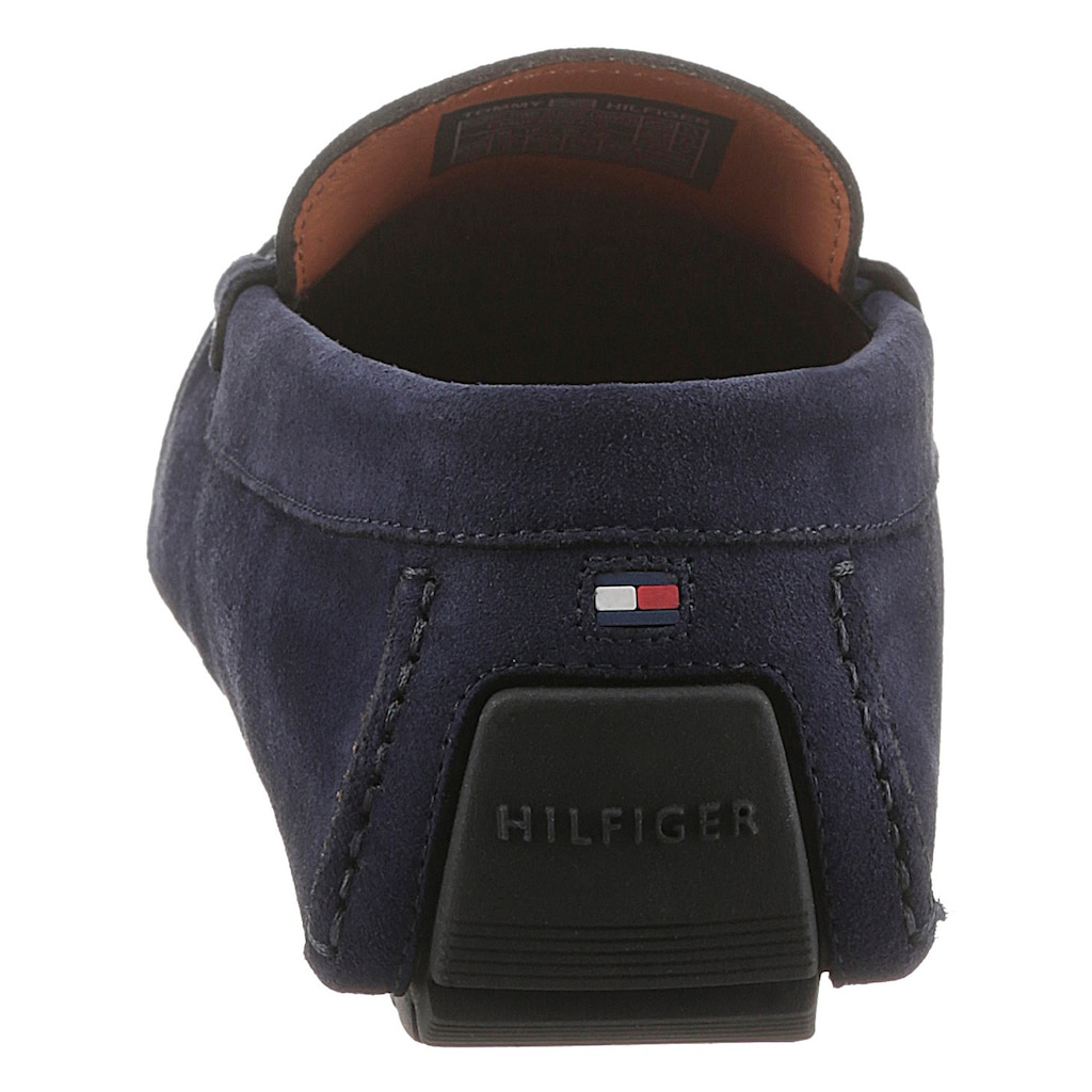 Tommy Hilfiger Slipper »ICONIC RWB SUEDE DRIVER«, mit gestreiftem Textilband