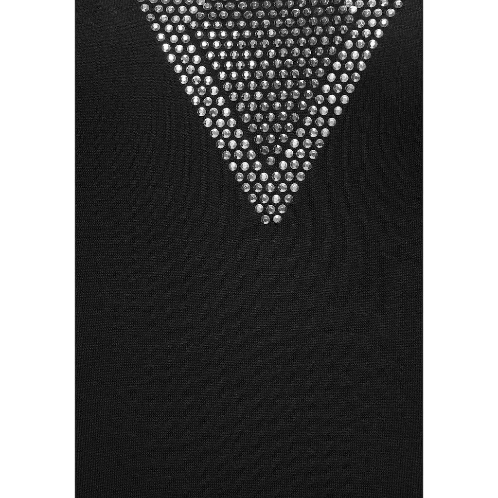 Melrose V-Shirt, mit Cut Outs Glitzersteinen in Silber und Bronze