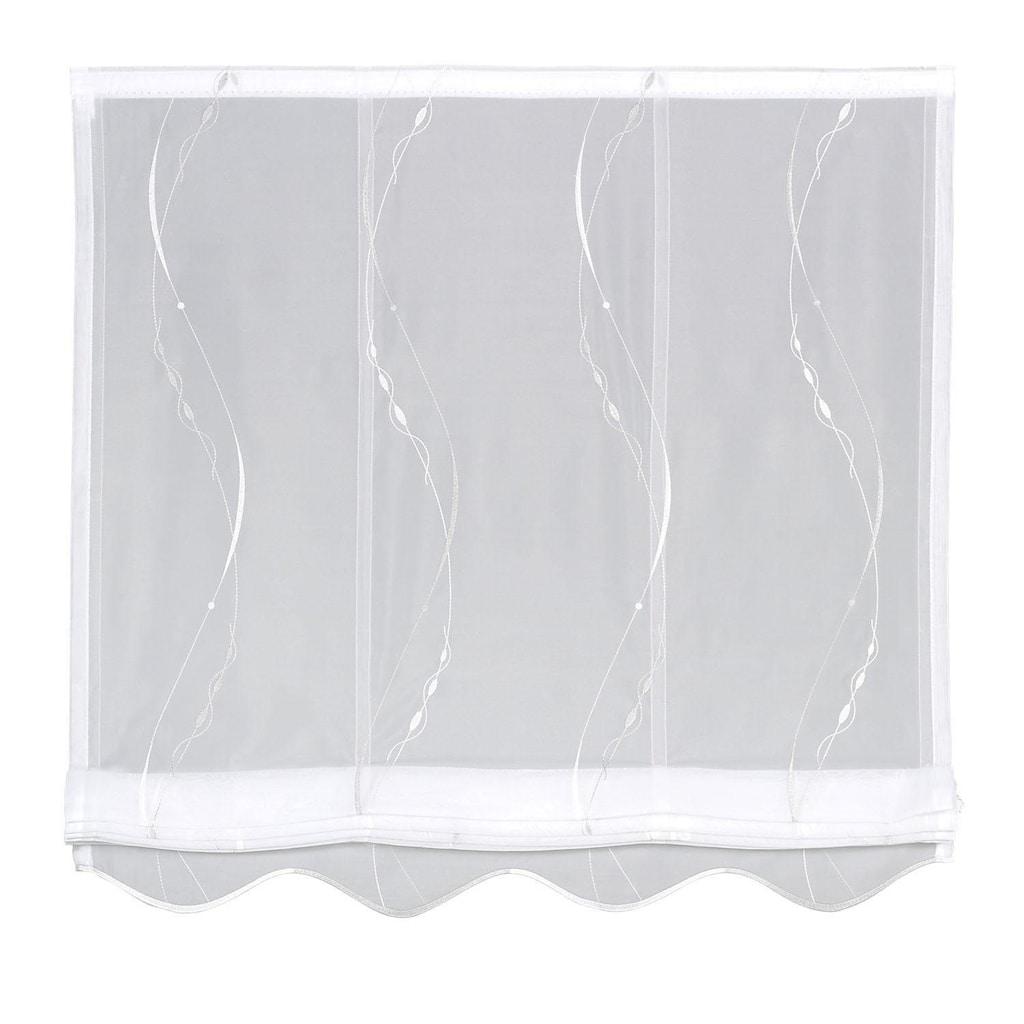 Gerster Raffrollo »Kirk«, mit Klettband, ohne Bohren, freihängend, Raffrollo Kirk mit Stickerei-Design