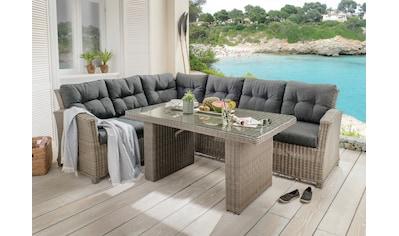 DESTINY Loungeset »RIVIERA«, 15 - tlg., Ecklounge, Tisch 80x140 cm, Polyrattan kaufen