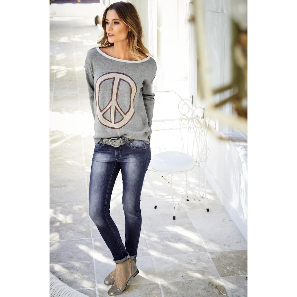 LINEA TESINI by Heine Skinny-fit-Jeans, mit Used-Effekt
