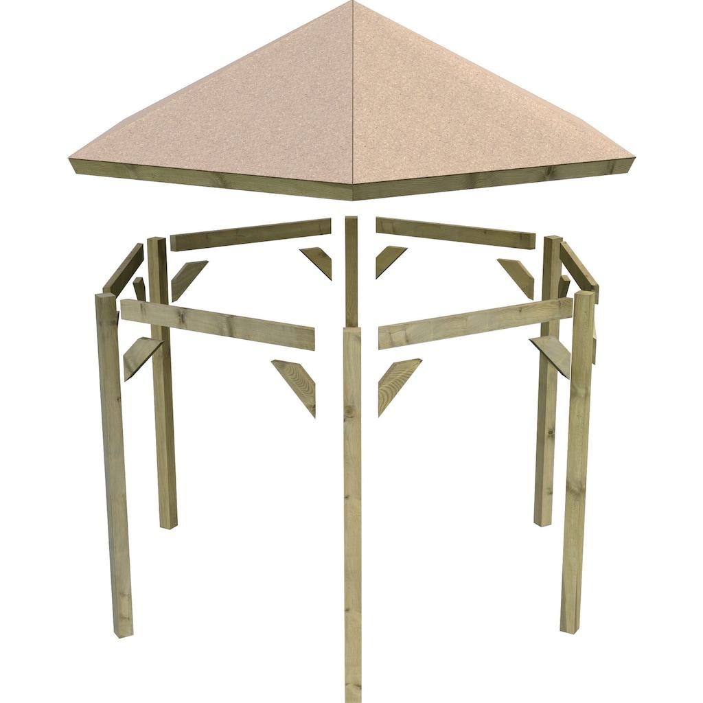 Karibu Holzpavillon »Lissabon«, (Set), BxT: 299x260 cm, inkl. Dachschindeln und Pfostenanker