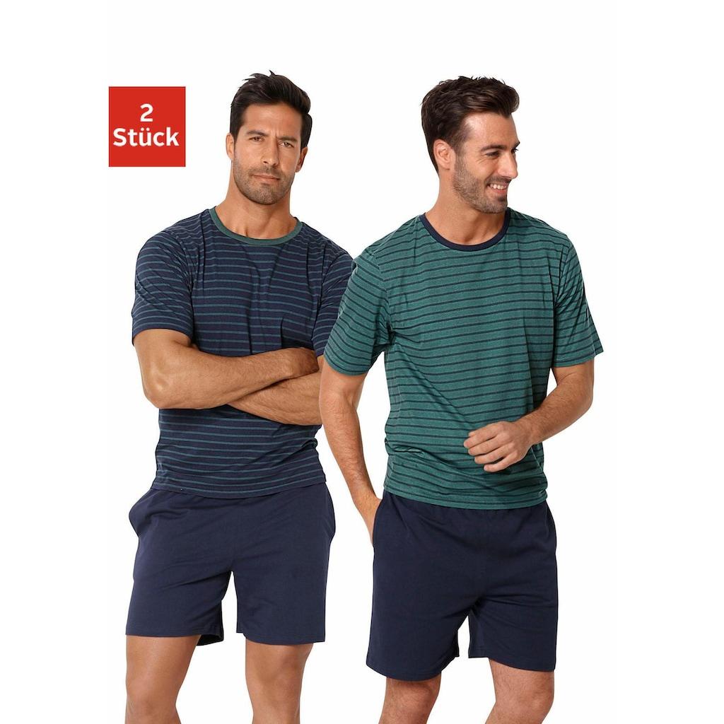 le jogger® Pyjama, (2 tlg., 2 Stück), kurz im Streifendesign
