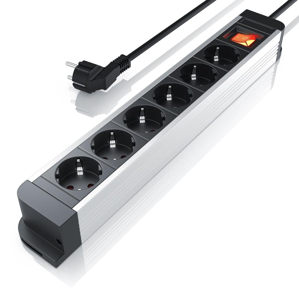 Arendo 6-fach Aluminium Steckdosenleiste / bis zu 3680W