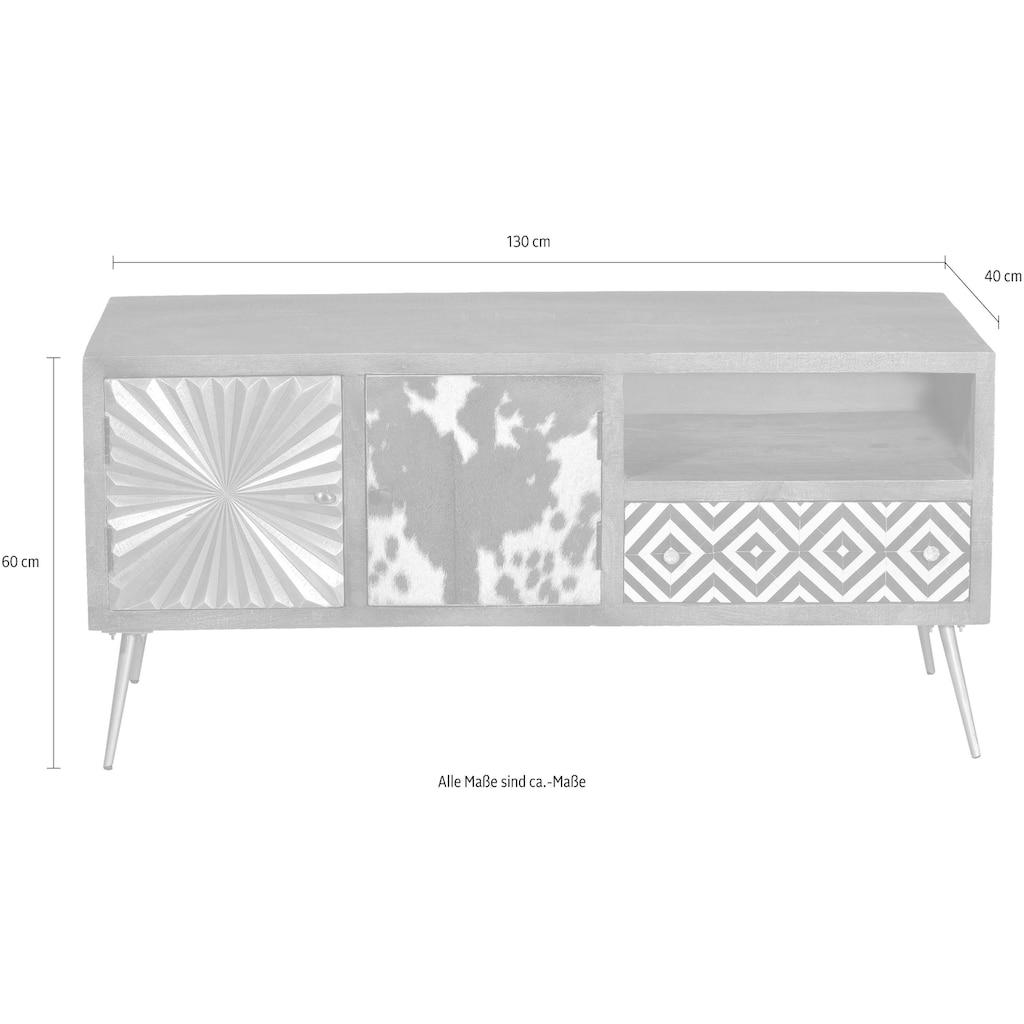 SIT Lowboard »Peetal«, mit Front aus Leder, Messing oder Altholz, Breite 130 cm