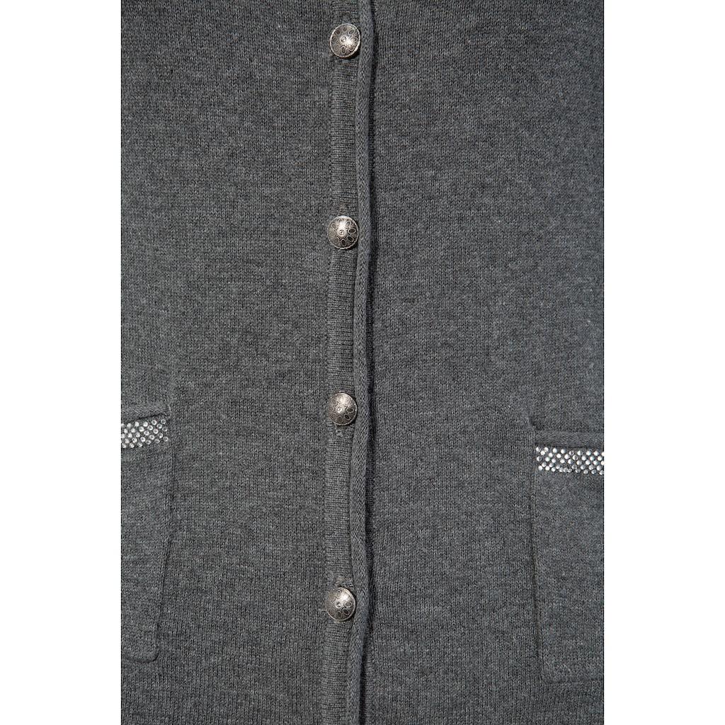 MarJo Trachtenstrickjacke, Damen, mit Hirschmotiv aus Strasssteinen am Rücken