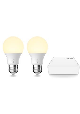 Nordlux LED-Leuchtmittel »Smartlight«, E27, 1 St., Farbwechsler, Smart Home Starter Kit inkl. 2 Leuchtmittel + Bridge,Steuerbar, Lichtstärke, Lichtfarbe, mit Wifi oder Bluetooth kaufen