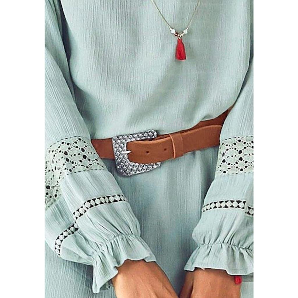 LASCANA Ledergürtel, Hüftgürtel mit aufwendiger Zierschnalle