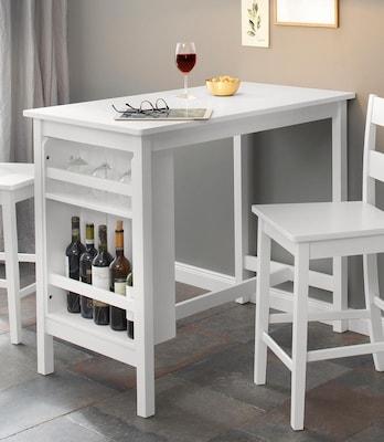 weißer Bartisch mit Stühlen