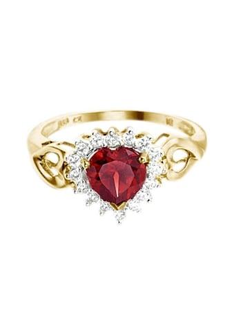 Firetti Fingerring »Herz«, mit Granatstein und Zirkonia kaufen