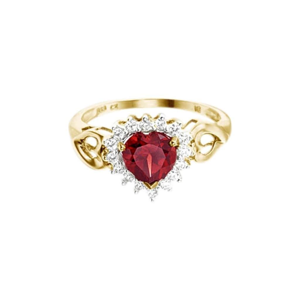 Firetti Fingerring »Herz«, mit Granatstein und Zirkonia