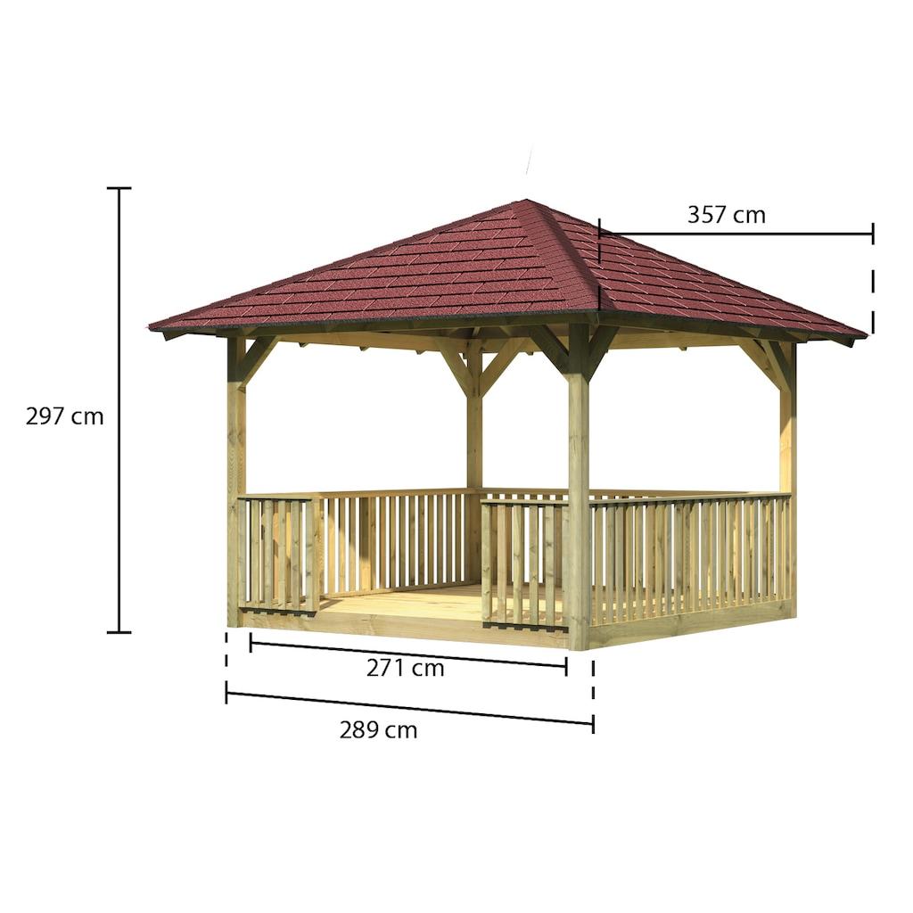 Karibu Holzpavillon »Cordoba 2«, (Set), BxT: 357x357 cm, inkl. Brüstung, Fußboden, Dachschindeln und Pfostenanker