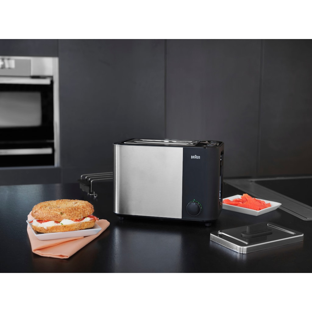 Braun Toaster »HT 5010.BK schwarz silber ID Collection«, 2 kurze Schlitze, 1000 W