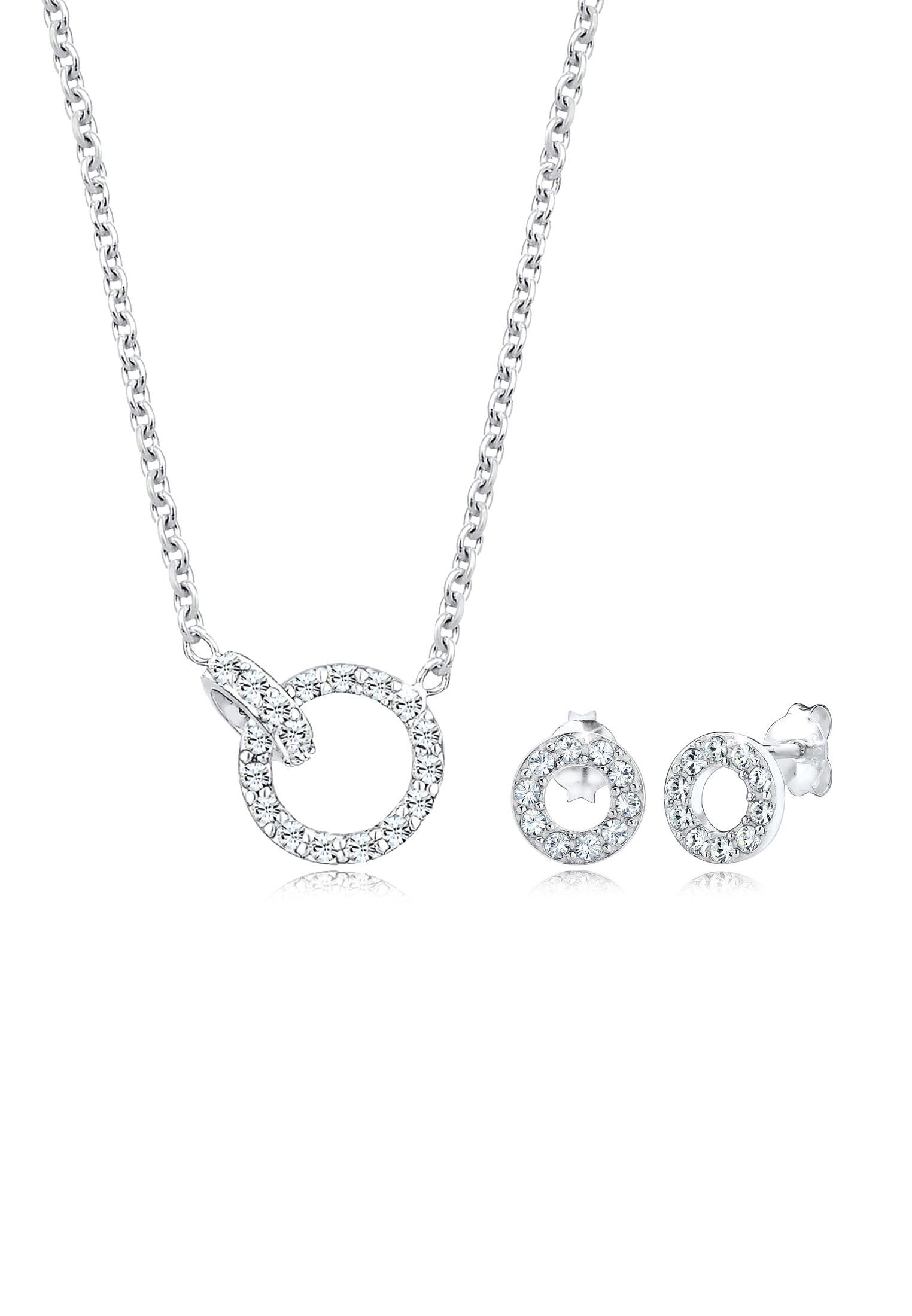Elli Schmuckset »Set  Kette Stecker Geo Swarovski® Kristalle 925 Silber« ( Set 7f269397db
