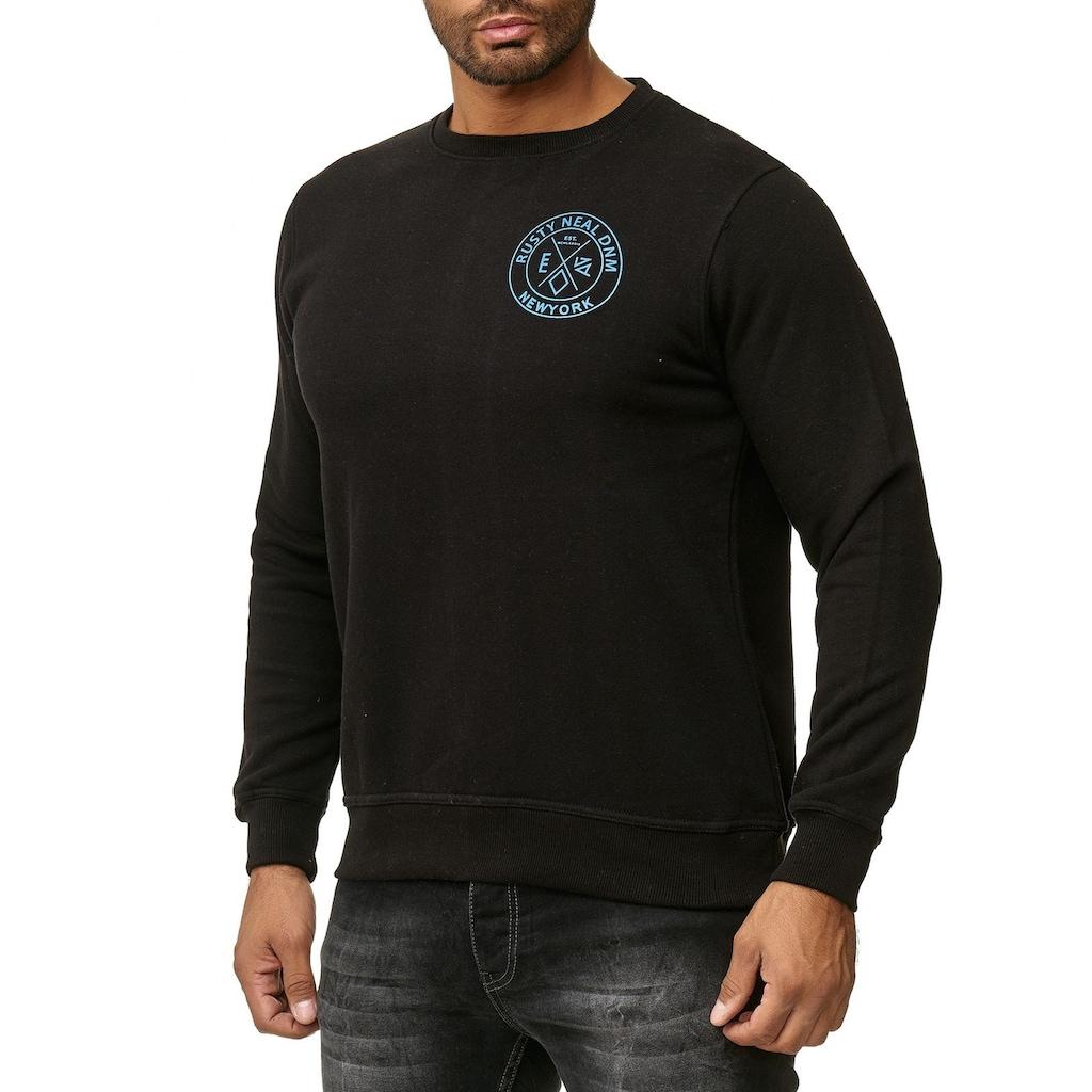Rusty Neal Pullover mit Marken-Motiv auf Rücken und Front