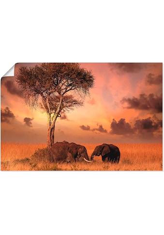 Artland Wandbild »Elefanten zum Abendessen«, Wildtiere, (1 St.), in vielen Größen &... kaufen